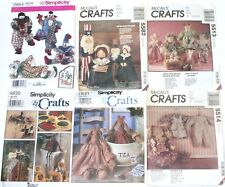 Simplicity McCalls Sewing Patterns Dolls Clowns 2954 5582 5513 5514 7831 8930