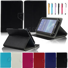 For 7 Inch Tablet PC MID+Stylus Universal Folio PU Leather Stand Case Cover
