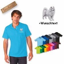 Polo Shirt Shirt Cotton Embroidered Embroidery Samoyed + Text of your choice