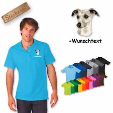 Polo Shirt Shirt Cotton Embroidered Embroidery Whippet + Text of your choice