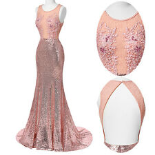 New Formal Long Evening Gown Party Prom Bridesmaid Dress Pink Mermaid Ball Gownღ