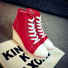 """Women 3.2"""" Wedge Heel Ankle Boots Walk Sneakers Canvas Shoes High Top"""