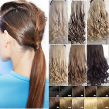 US Post 100% Real Clip In AS human Hair Extension Pony Tail Wrap Around Ponytail