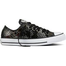 Converse Chuck Taylor All Star Snake Ox Black Leather Trainers Shoes