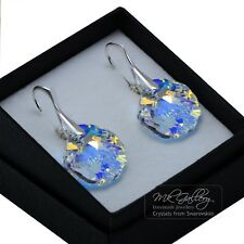 925 Sterling Silver Earrings 16mm SHELL *CRYSTAL AB* Crystals from Swarovski®
