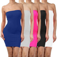 Elastic Tube Mini Dress Strapless Stretch Tight Body-con Seamless One Size HAW