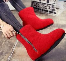 Womens Real Fur Zipper Mid Calf Boots Wedge Heel Fashion Casual Snow Shoes