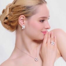 Jewelry Flower Set Rose Gold Color Austrian Crystal Earring/Necklace/Ring