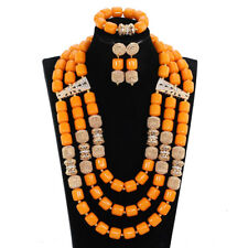 Fashion Artificial Coral Beads Necklace African Women Wedding  Party Jewelry Set