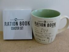 REPLICA RATION BOOK  MUG OR COASTER SET. ROBERT OPIE COLLECTION. POOLE 1944-45