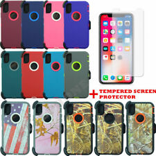 For Apple iPhone X Heavy Duty Defender Case Cover W/Screen(Clip Fits Otterbox)