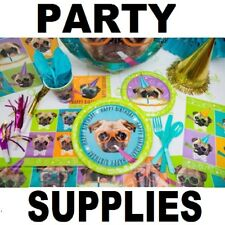 💗 Pug Puppy Party Supplies Happy Birthday Plates Napkins Table Cloth Cups Bags