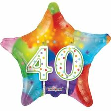 New 40th Balloon Happy Candles Birthday Star MultiColor Decor Balloons 18 Inch