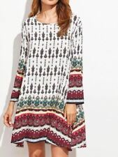 WOMENS VINTAGE FLORAL SUMMER CREW NECK LONG SLEEVE LOOSE CASUAL PARTY MINI DRESS