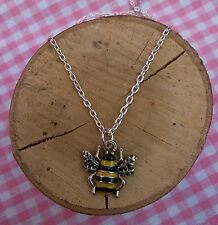 Enamel Bumble Bee Silver Plated Necklace Adult Or Child