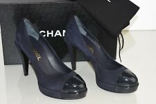 NEW Chanel PLATFORM Navy Suede Ink Patent Leather Pumps CC Logo Heels Shoes 37