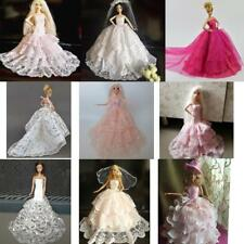 Princess Tulle Lace Dress Gown for Barbie Doll Bridal Clothes w/ hat Outfits Acc