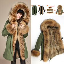 Women's Large Raccoon Fur Collar Cuff Hooded Coat Detachable Rabbit Liner parka