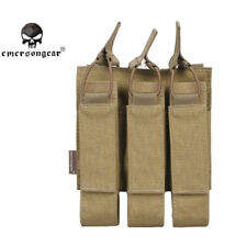 Pouch Triple Magazine Airsoft Molle Mag Tactical Bag Vest Open Tan Black Top New