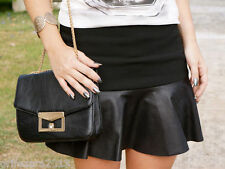 ZARA MINI SKIRT LEATHER FRILL Ref 7678/ 614 BLOGGERS FAVORITE SIZE L