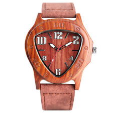 Unique Natural Wooden Quartz Wrist Watch 24mm Brown Genuine Leather Band Gift