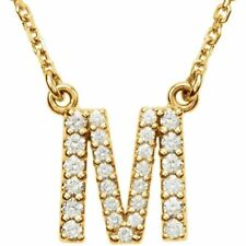 """14K Gold Diamond M Initial Letter Charm Pendant with 18"""" Rolo Chain Necklace"""