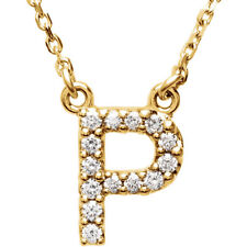 """14K Gold Diamond P Initial Letter Charm Pendant with 18"""" Rolo Chain Necklace"""