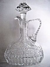 Heavy Clear Cut Glass Handled Decanter Bottle With Stopper Empty