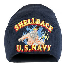 US Navy Shellback 3D Logo Embroidered Long Cuff Beanie - Free Shipping