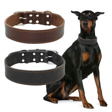 Medium Large Dog Collars Heavy Duty Thick Top Genuine Leather for Pit Bull Boxer