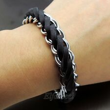 New Stylish Genuine Black Braided Leather Stainless Steel Curb Chain Bracelet