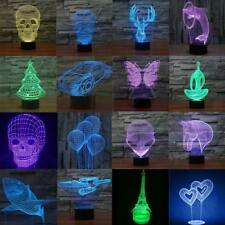 3D Illusion Bulbing Bedrooom Night 7 Color Change Table Desk Lamp USB LED Lights