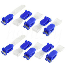 10/30/50Pcs Blue Clear Plastic ID Card Holder Security Name Badge Clips Clamps