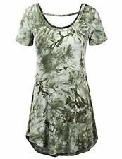 CWTTS0129-OLIVE-S Doublju Womens Short Sleeve Deep Round Neck Tie-Dye T-Shirt