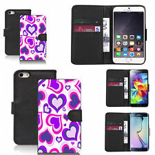 faux leather wallet case for many Mobile phones - purple multi heart