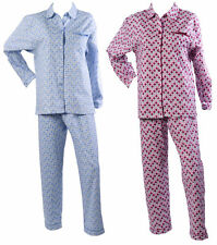Womens Polka Dot Pyjamas Ladies Brushed Cotton Button Up Spots PJs Nightwear Set