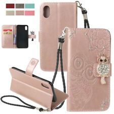 Bling Crystal Flip Leather Wallet Case Cover Stand With Strap For Apple iPhone