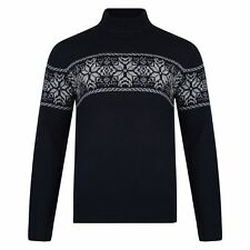 Mens Christmas Novelty Fair Isle Jumper Snowflake Xmas Sweater Turtle Neck New