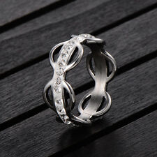 Silver Plated Enamel Clear CZ Hollow Flower Ring Size 7 8 10 Lovers Ring