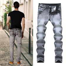 Fashion Mens Slim Biker Straight Washed Denim Trousers Skinny Jeans Pants Casual
