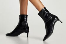 ZARA NEW BLACK HIGH HEEL FAUX PATENT ANKLE BOOTS 6058/201