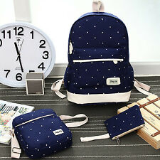 Canvas Backpack Girl Student Book Bag with Purse Laptop Bag 3Pcs Set Cheap Women