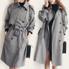 Fashion Womens Long Coat Jacket Trench Parka Double Breasted Belt Check Overcoat