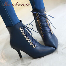 Women Pointed Toe High Heel Stiletto Zipper Lace Up Ankle Boots Winter Shoes
