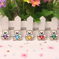 5Pcs Iron On Patch Sew Motif Applique Cute Exquisite Bear Embroidered Cloth