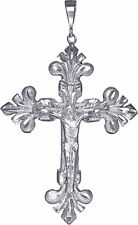 Huge Heavy Sterling Silver Cross with Jesus Pendant Necklace 5 Inches 50+ Grams