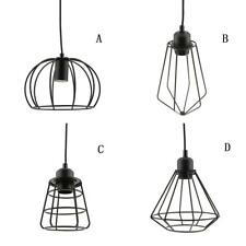 Iron Ceiling Light Cage Bulb Cage Pendant Light Shade Loft Retro Lampshade Black