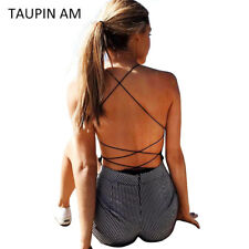 Sexy Bodysuit Overalls Lace Up Back Sleeveless Bandage Bodycon Backless Romper