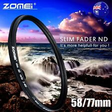 ZOMEI 58/77mm Neutral Density Fader Adjustable Variable ND Filter ND2,ND4-400 AU