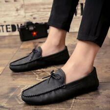 2017 New Mens Casual Slip On Shoes Leather Boat Deck Loafers Driving Moccasin